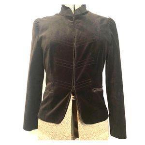 Black velvet stretch military style blazer
